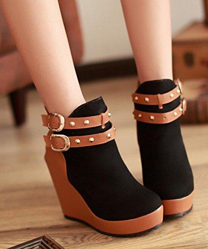 Aisun Womens Fashion Dubbade Kil Hög Klack Boots Svart