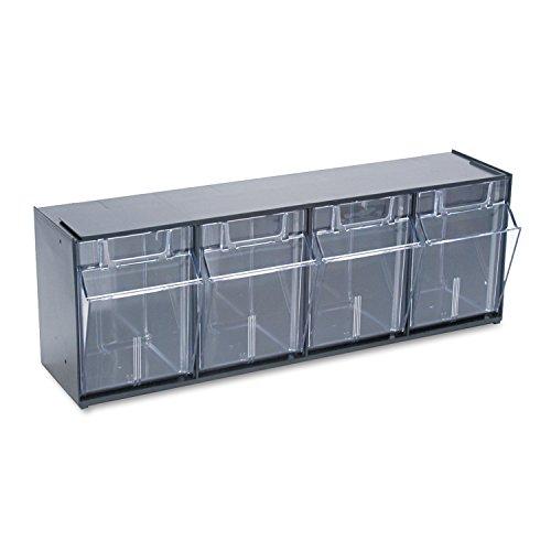 Deflecto 20404OP Four-bin horizontal tilt bin storage system, 23-5/8w x 6-5/8d x 8-1/8h, black ()