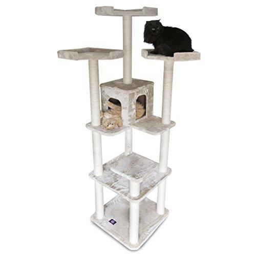 Majestic Pet Products 80 inch Beige Casita Cat Furniture Condo House Scratcher Multi Level Pet Activity Tree ()