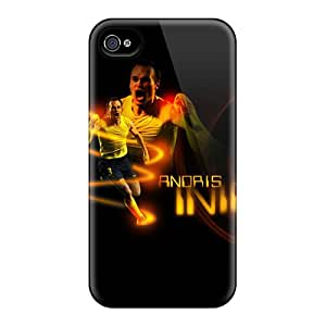 Ultra Slim Fit Hard SpecialExcitement Case Cover Specially Made For Iphone 4/4s- The Player Of Barcelona Andres Iniesta On Black Background
