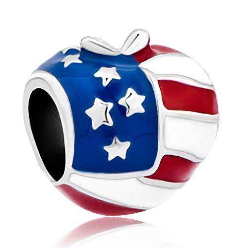 Pugster America Usa Flag Heart Love Apple Bead Fits