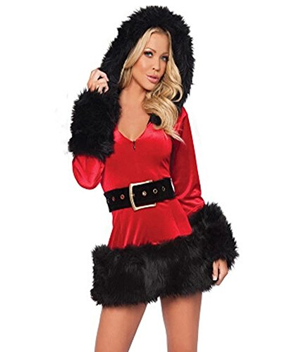 Fashion Queen Women's Miss Santa Costumes Sexy Christmas Party Cosplay Hooded Dress (One Size, ()