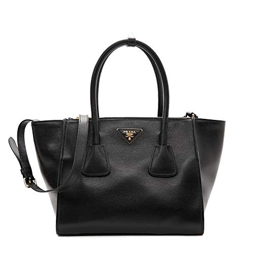 Prada Women's Glace Calf Shopping Handbag 1bg625 Black Leather Tote