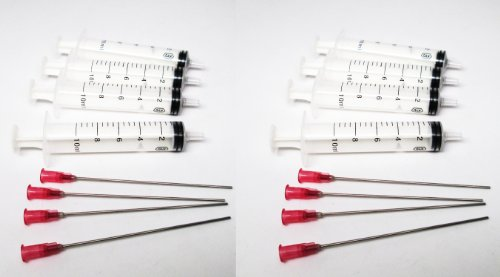 """OPT Brand. 8 x 10ml syringes with blunt 4"""" long needle to refill ink cartridge CISS, glue craft"""