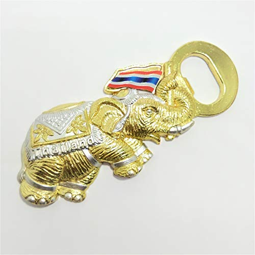 Bottle Opener Metal Alloy Solid Gold Golden Elephant Fridge Refrigerator Magnet Beer Wine Openers in Yellow Box Glass Beer Soda Handmade Thai Flag Thailand Decor Premium ()