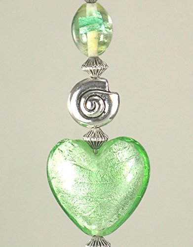 Light Green Modern Art Glass Heart and Swirl Ceiling Fan Pull Chain