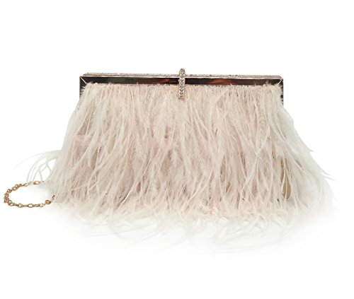 KELAND Women's Natural Ostrich Feather Evening Clutch Shoulder Bag for Wedding Party Champagne