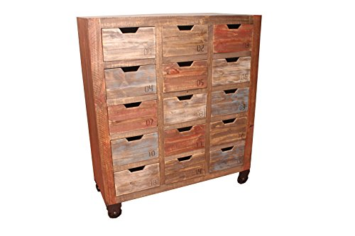 Chest Drawers Xv Of Style (Industrial Rustic Solid Wood Console 15 Drawer Chest of Drawers on Wheels)