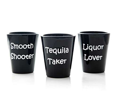 Shot Glass Set, Heavy Glasses, Black Heavy Base, 1.5oz Black Customized Outbound Desires - 3 Pack Gift Set