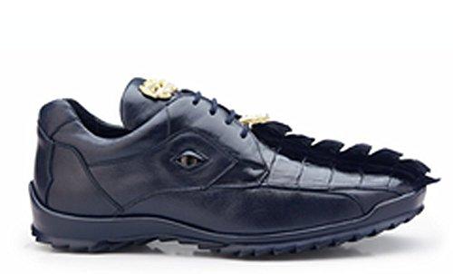 Belvedere Vasco Genuine Hornback Crocodile and Soft Calf Oxford Shoe 14 Night Blue ()