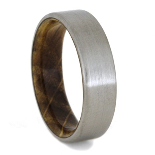 Whiskey Barrel Oak 6mm Comfort-Fit Brushed Titanium Wedding Band, Size 12.75
