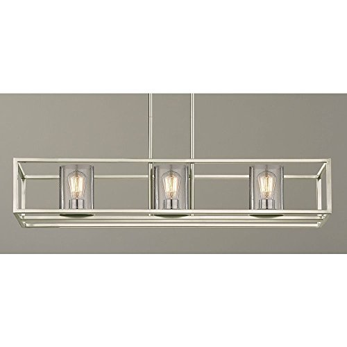 Nickel Chandelier Rectangular (Seeded Glass Linear Chandelier Satin Nickel 3 Lt)