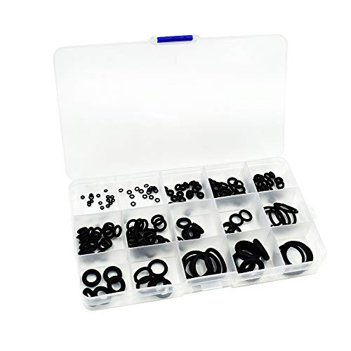 TOUHIA Rubber Grommet Eyelet Ring Gasket Assortment, Set of 18 different sizes, with See-through Divided Organizer Case(225Pcs)