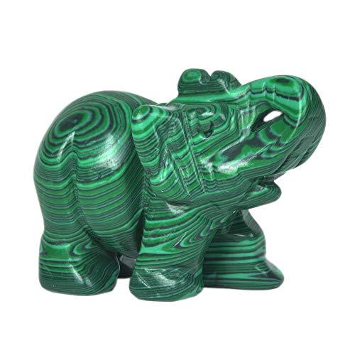 Justinstones Synthetic Malachite Carved Elephant Crystal Animal Totem Spirit Stone Figurine 2 inch