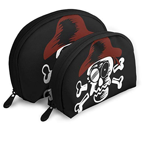 Charm Trend Skull Skeleton Travel Makeup Bag- Half Moon Cosmetic Pouch Multifunctional Train Case Pencil Case Handy Toiletry Clutch/Purse/Organizer Kit for Women Set of 2 (2pcs)