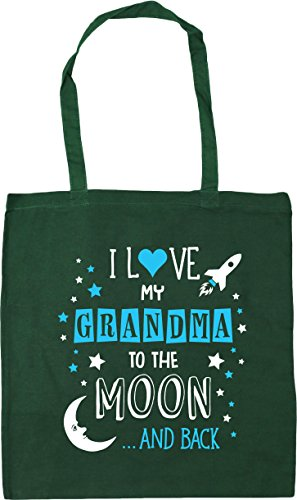 HippoWarehouse I Love My Grandma to the Moon and Back (Blue) Tote Shopping Gym Beach Bag 42cm x38cm, 10 litres Bottle Green