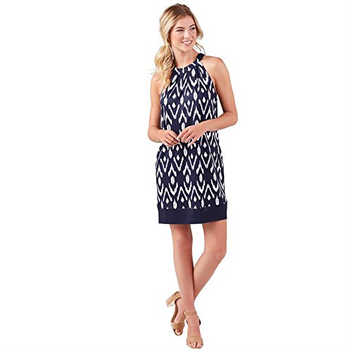 Mud Pie Women's Fashion Navy Ikat Polyester Spandex Natalie Bow Tie Dress Large