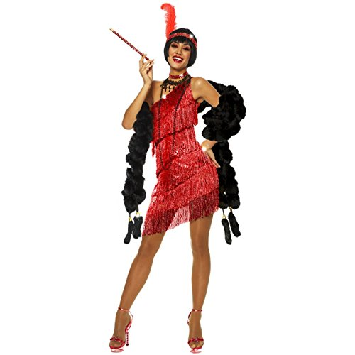 Goddessey Red Dazzling Flapper Costume  Red Small 4-6