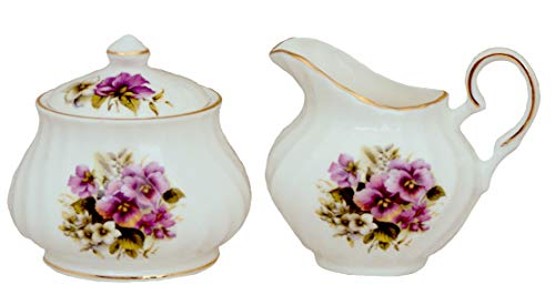 Purple Pansy Sugar and Creamer set - Fine Bone China ()
