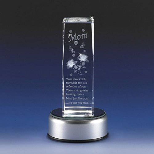 Mom Lighted Cube - GREAT FOR A NIGHT LIGHT!! 3d Laser Etched Crystal Clear Cube Poem for Mom or Grandma Detailed Roses Heart Butterflies Mother's Day Gift