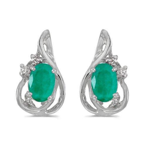 14k White Gold Oval Emerald And Diamond Teardrop Earrings ()