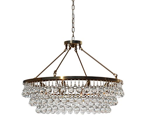 LightUpMyHome Celeste Round Glass Drop Crystal Chandelier, Brass