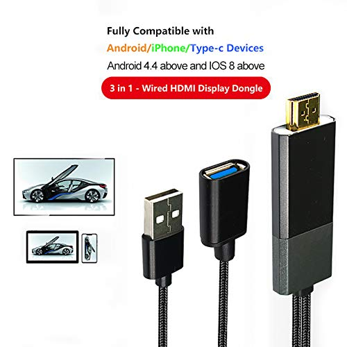 Compatible with iOS iPhone iPad/Android Phones Tablet MHL to HDMI Cable (1m), USB Capture Video to HDMI Screen Mirroring Display Dongle for Phones to TV/Projector/Monitor 1080P HD,Plug and Play