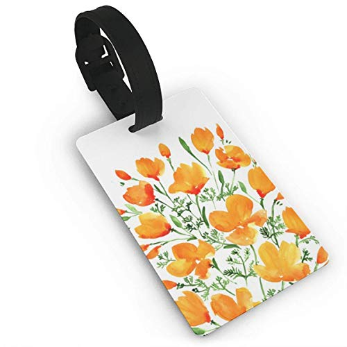 (Kuytresdf Watercolor California Poppies Luggage Tag Travel ID Label Set of 2 for Suitcase PVC Size 2.2'' X 3.7'')