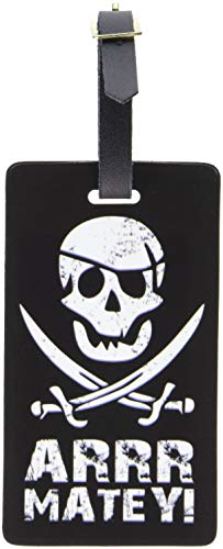 Graphics & More Pirate Arrr Matey-Skull Crossed Swords Luggage Tags Suitcase Id, White