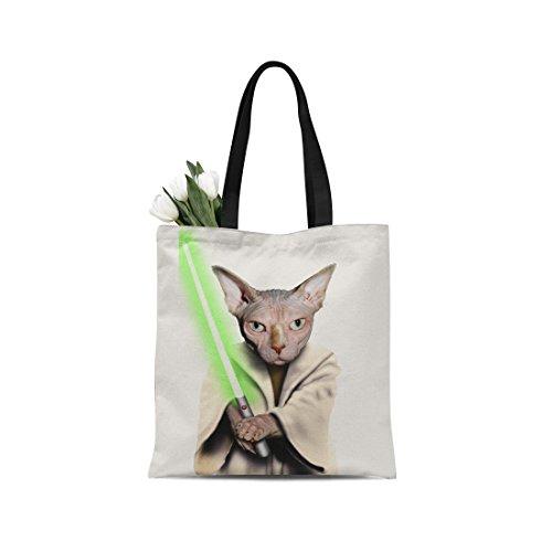 Ladies canvas tote bag reusable shopping bag zipper handbag Animal Print Cute Design pet imitation show. Individual Zippered Storage Pouch (Star Wars the - Star Pocket Your Wars