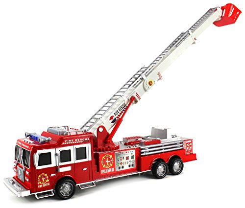 - Top Engine Fire Rescue Friction Toy Truck Ready To Run w/ 360 Rotating Extending Rescue Crane, Fun Fire Truck