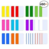 480 Pieces 2 Inch Sticky Tabs Page Markers Index Tabs Colored Sticky Notes Flag Page Tabs for Notebooks, Books and File Folders,24 Sets 12 Colors