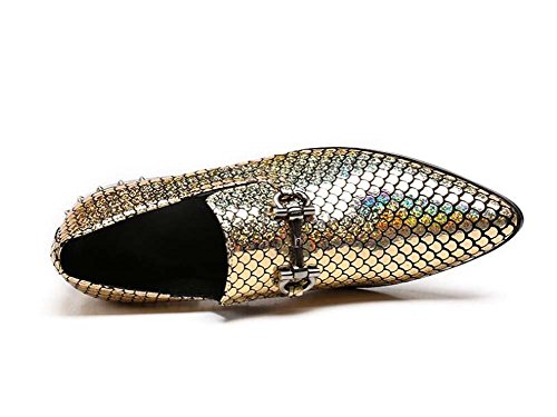 Winklepicker Dedo del pie puntiagudo piel genuina De los hombres Bomba Negocio Casual Los zapatos de cuero Zapatos de boda Estilo de Inglaterra Patrón de Escala de Pescado Mocasines Zapatos Monje Zapa Yellow