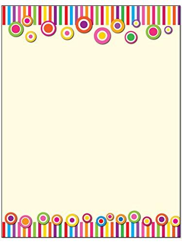 Fun Colorful Border Stationery - 8.5 x 11-60 Letterhead Sheets - Border Letterhead (Colorful Border) ()