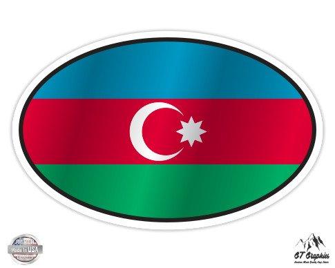 "Azerbaijan Flag Oval - 3"" Vinyl Sticker - For Car Laptop I-Pad Phone Helmet Hard Hat - Waterproof Decal"