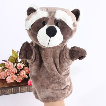 Puppet Master And Doll Costume (Cartoon Raccoon Animal Doll Kids Story Glove Hand Puppet Soft Plush Toys Gift)