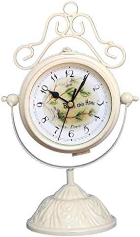 両面置時計ガーデンリビングルームの時計の装飾ヨーロッパ式ミュート両面クロックシートクロックリビングルームのテーブル装飾置時計の装飾