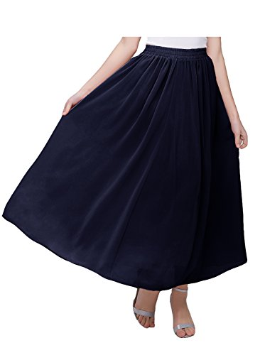 Kileyi Women's Long A Line High Elastic Waist Swing Chiffon Pleated Midi Skirt Navy XL