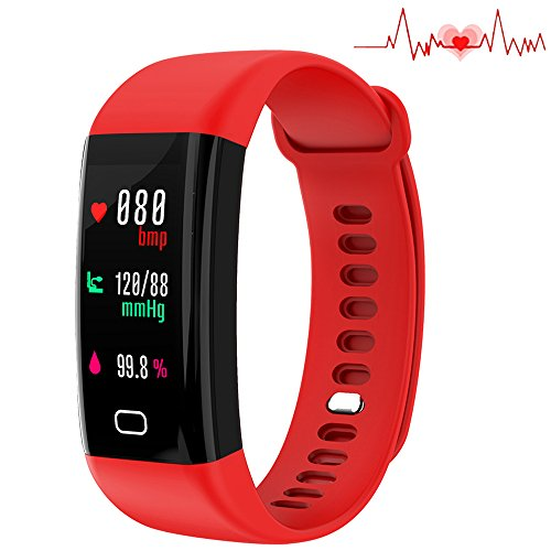 A5 Heart Rate Monitor Watch - Huangchao Inc Fitness Tracker, Smart Watch 4 Sports Mode, Heart Rate Monitor IP67 Waterproof Activity Tracker, Sleep & Blood Pressure Oxygen Monitor, Calorie/Step Counter Smart Wristband iOS Androi