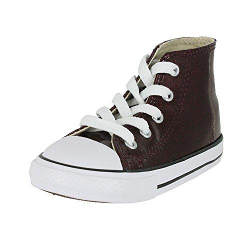 Converse Girls' Chuck Taylor All Star Glitter High Top Sneaker, Brick/Natural, 7 M US Toddler