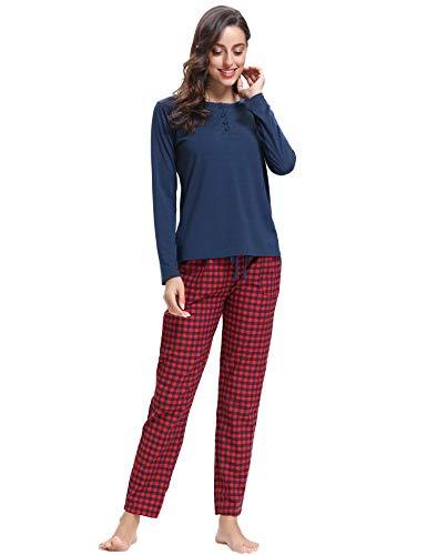 Chaud Vêtements Toutes Longue Bleu Pyjama Coton Manche Pour Les Femmes Saisons Navy De 1 Hiver Aibrou Nuit 4YzwTFTq