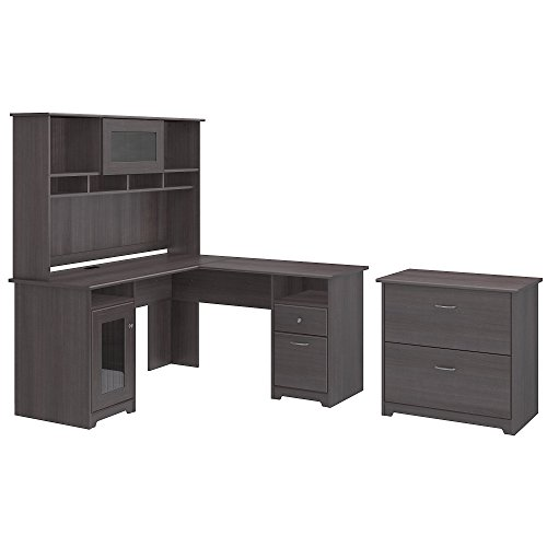Cabot L Shaped Desk with Hutch and Lateral File Cabinet - Soho Cherry Finish