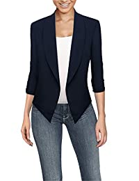 Hybrid & Company Womens Casual Work Office Open Front Blazer JK1133 Navy Medium