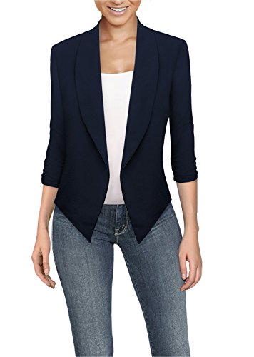 Womens Casual Work Office Open Front Blazer JK1133X Navy ()