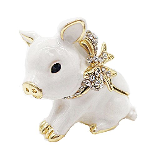 Waltz&F Handcrafted Pewter Trinket Box Jeweled New Lovely Pig Jewelry - Crystal Pig