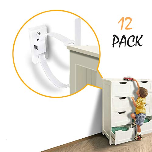 Furniture Straps (12-Pack) Baby Proofing Furniture Anchors Anti Tip Kit, Wall Furniture Straps Protect Children's and Pets, Adjustable Child Safety Straps Earthquake Resistant (Brackets Furniture)