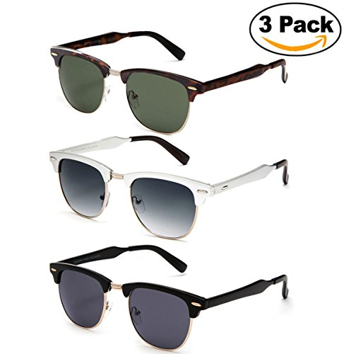 Newbee Fashion - Polarized Classic Vintage Clubmaster Style Comfortable Semi-Rimless Flash Mirrored Lenses Colored Fashion - Glasses Trending 2017