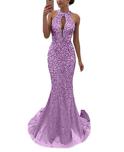 Gorgeous Crysatal Beads Halter Backless Mermaid Prom Dress Evening Dresses Long Lilac Size 22W