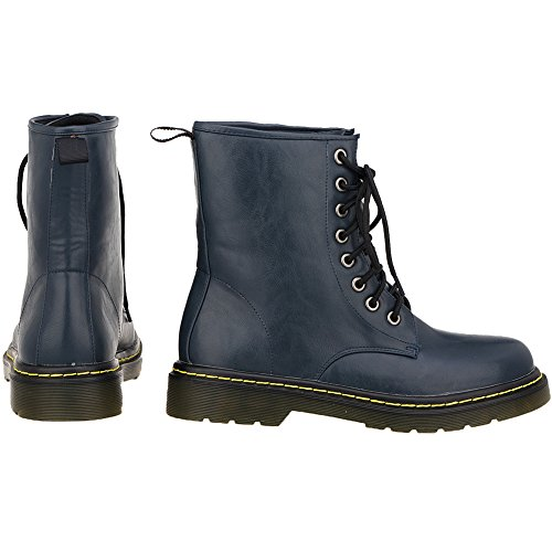 Leather Shoes Snow Up Waterproof Winter Lace Womens Boots Dark Loslandifen Bootie Blue Ankle qBfHtvp
