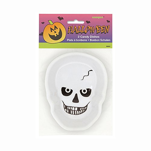 Plastic Skull Halloween Candy Dishes, 2ct